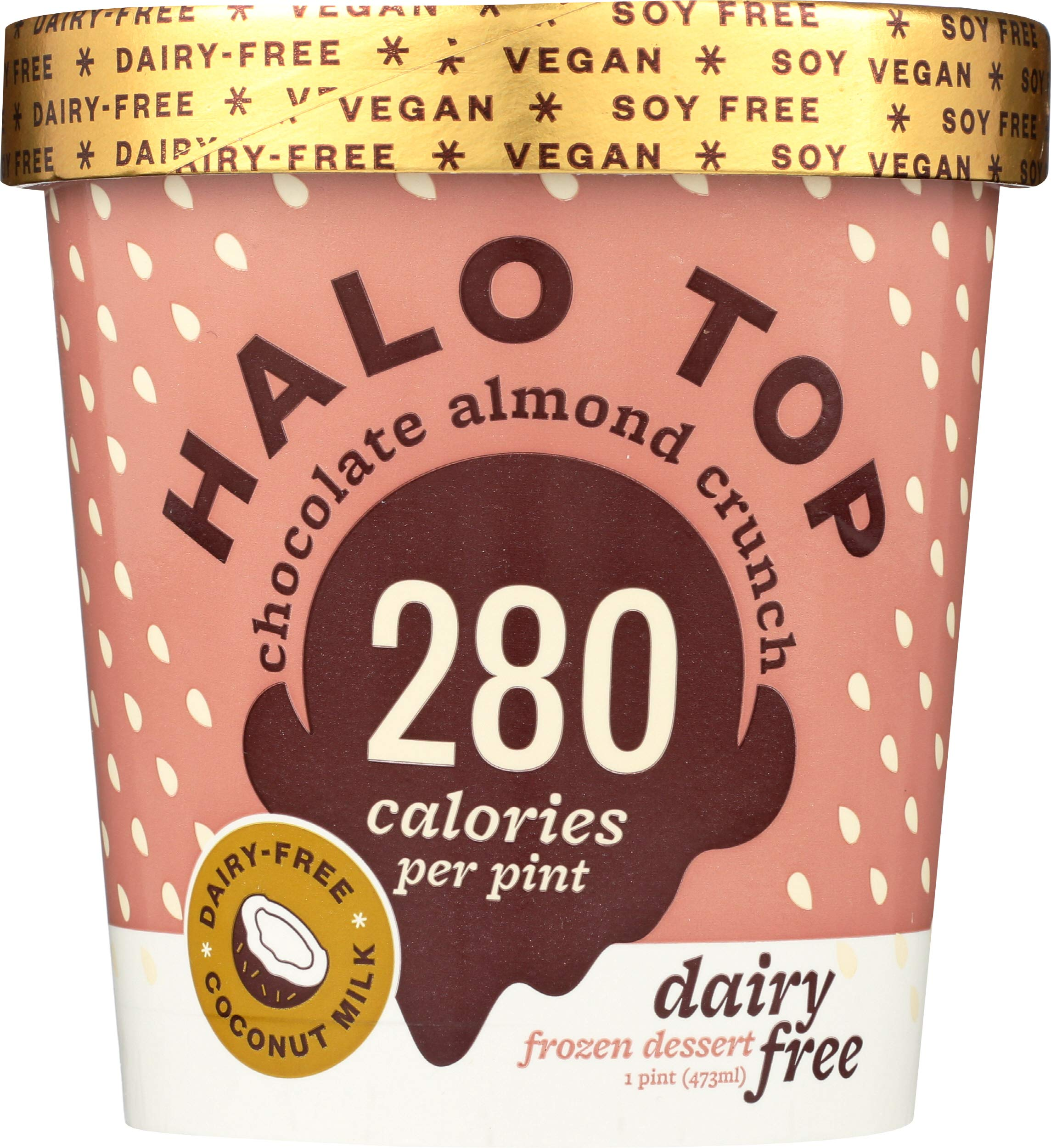 Halo Top Chocolate Almond Crunch Dairy Free Frozen Dessert,, 16 oz (Pack of 8)