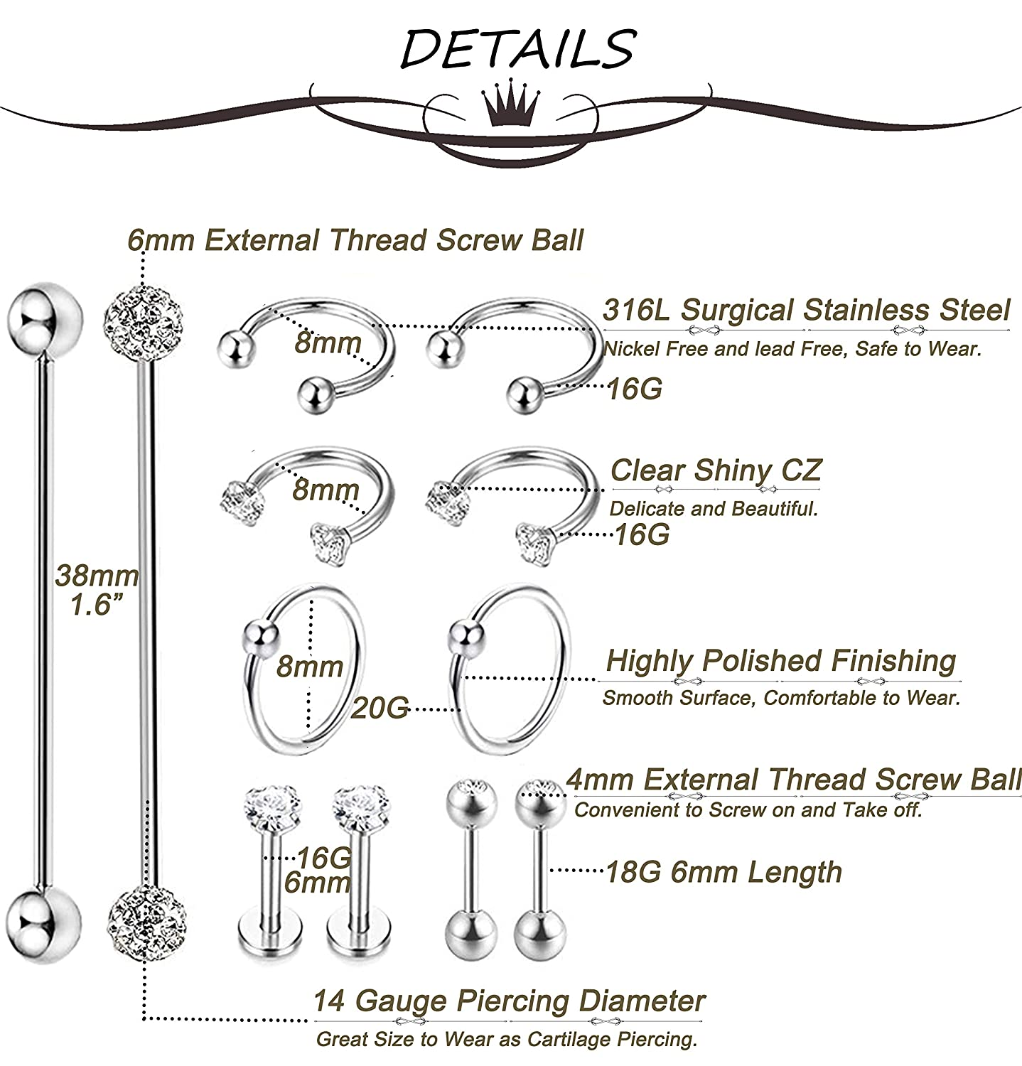 Amazoncom Masedy 12pcs Stainless Steel Industrial Barbell