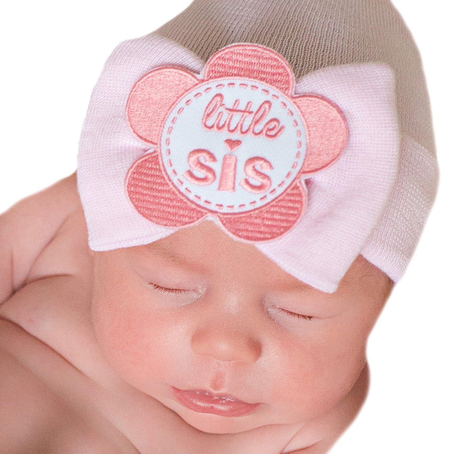 Amazon.com  Melondipity PINK Little SIS Newborn Girl Hospital Hat - Newborn  Nursery Beanie  Clothing b377f6af386b
