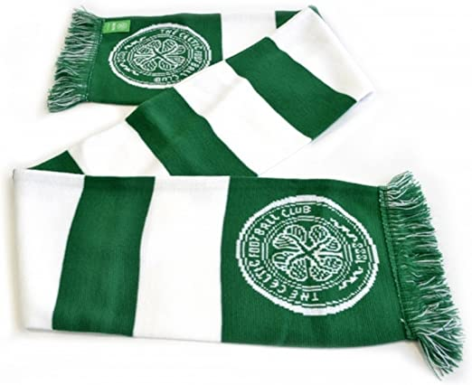 Green//White Celtic FC Bar Scarf One Size
