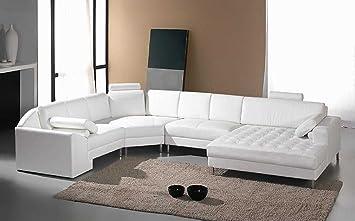 Amazon Com Vig Furniture Monaco White Leather Sectional Sofa 2236 Furniture Decor