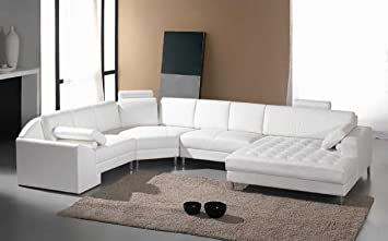 Amazon.com: Vig Furniture Monaco White Leather Sectional Sofa #2236:  Kitchen U0026 Dining
