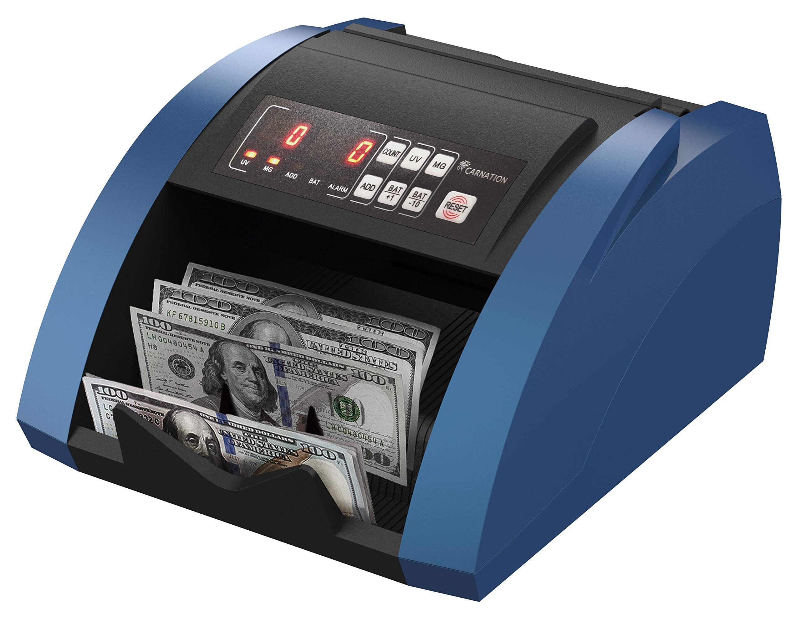 CARNATION USA Bill Money Counter with UV and Magnetic Counterfeit Detection - with Free Counterfeit Detector Pens by Carnation