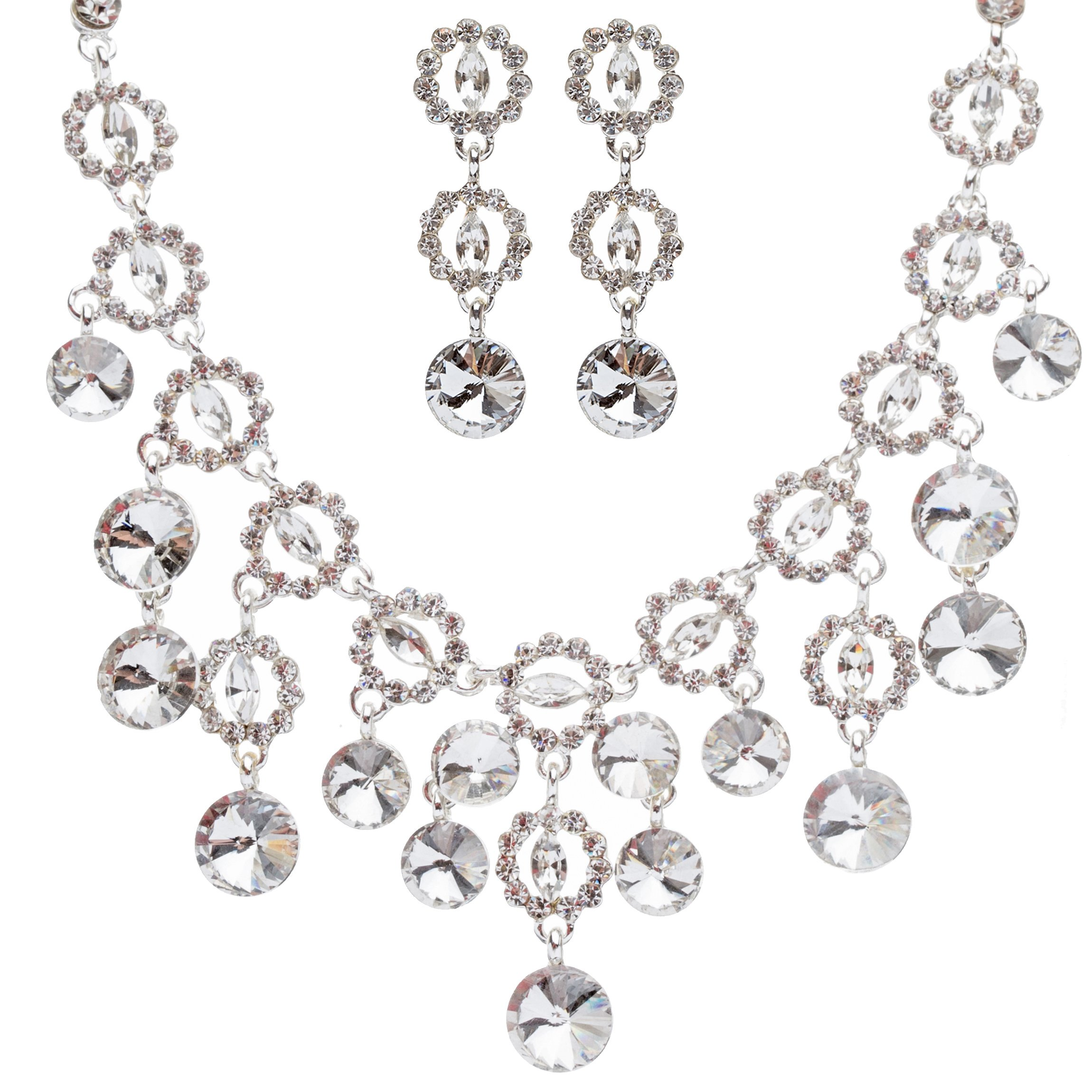 ACCESSORIESFOREVER Bridal Wedding Prom Jewelry Set Crystal Rhinestone Round Faceted Glittering Necklace