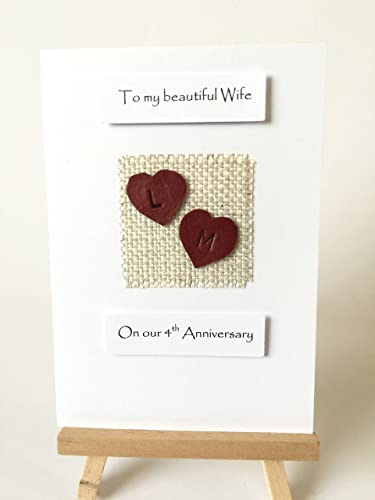 4th wedding anniversary card wife husband her him personalised