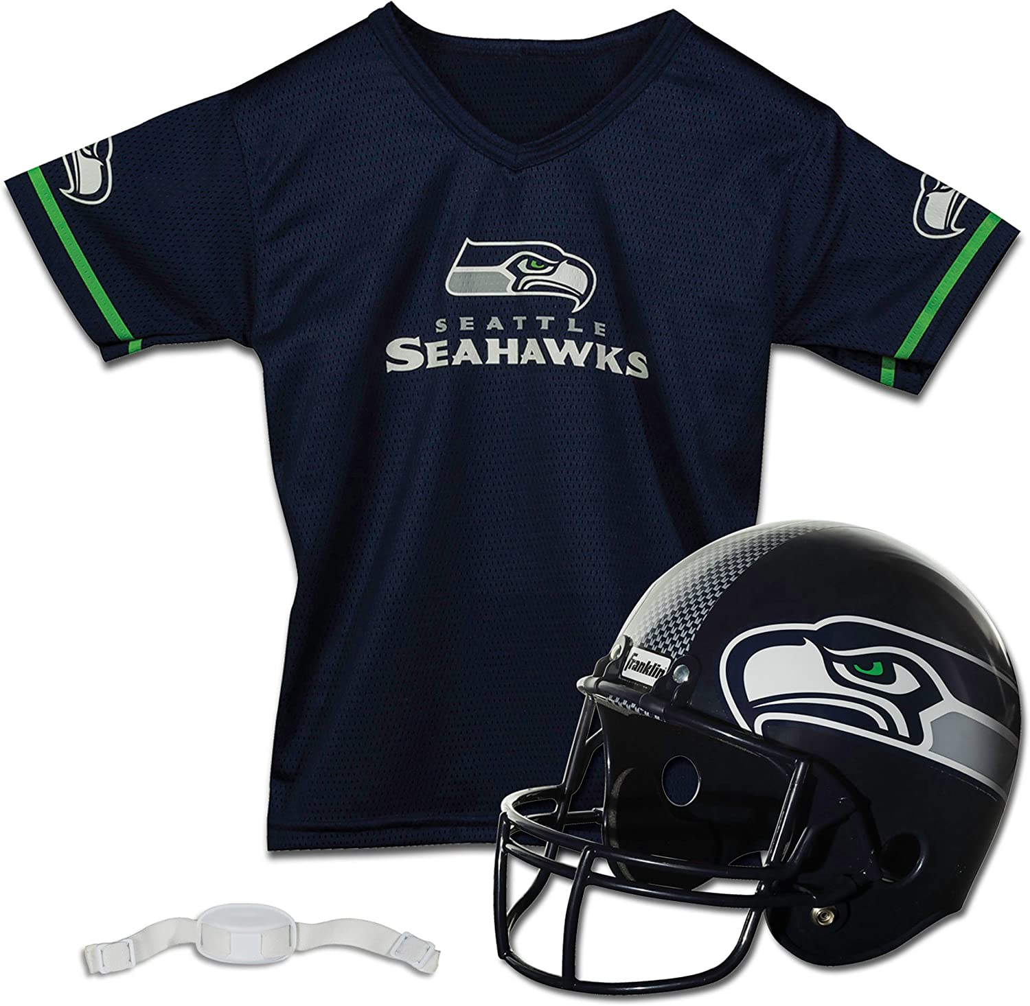 Franklin Sports Seattle Seahawks Kids Football Helmet and Jersey Set - NFL Youth Football Uniform Costume - Helmet, Jersey, Chinstrap - Youth M