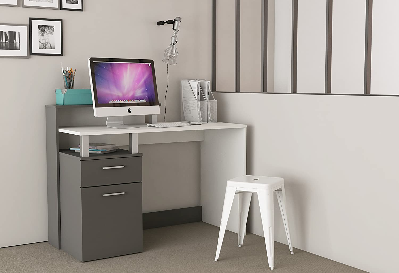 Demeyere 305890 Oracle MultiMedia avec 1 Porte//Tiroir Panneau de Particules Blanc//Gris Graphite 119,8 x 55 x 91 cm