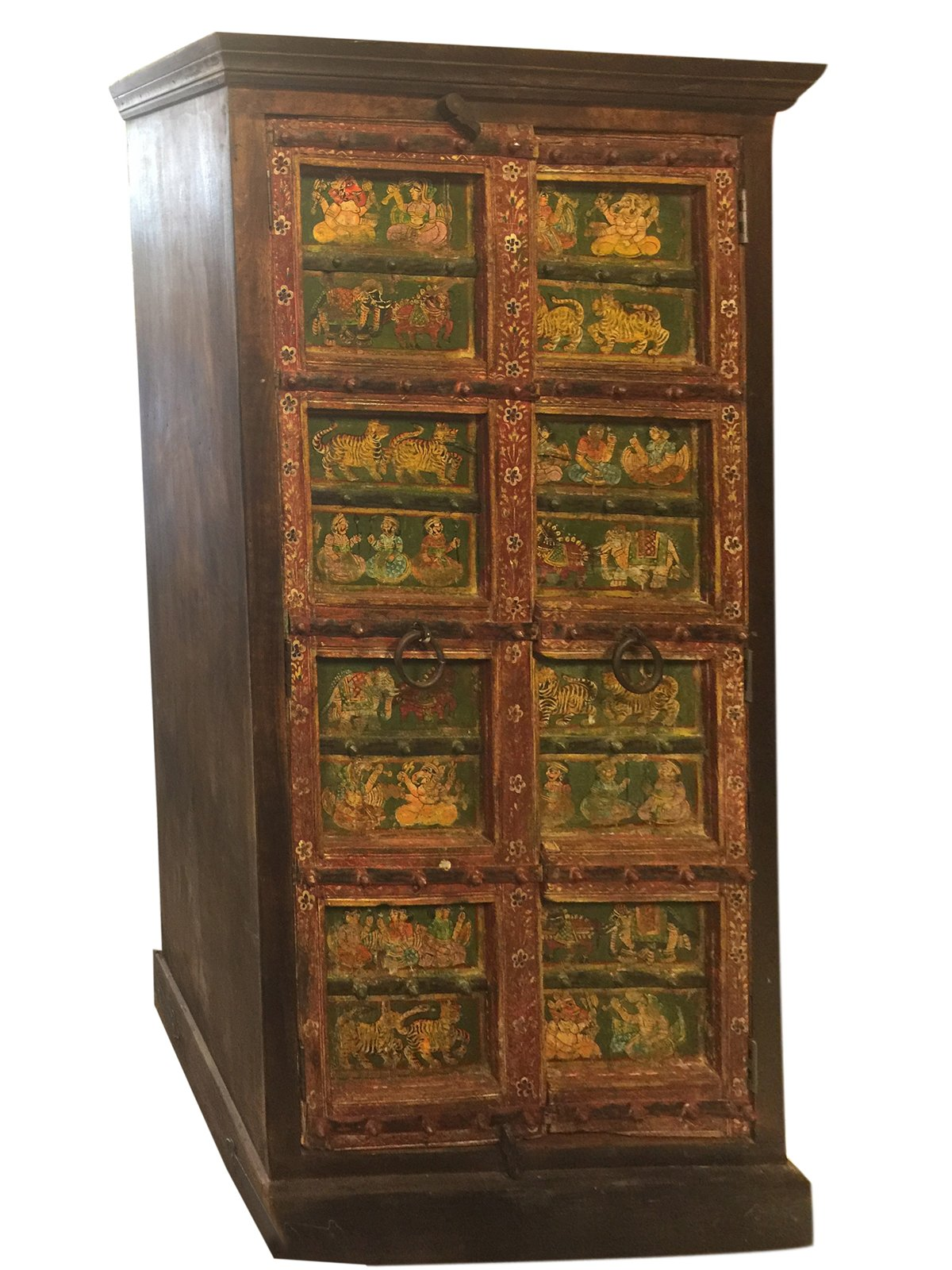 Antique Armoire Cabinet Chest Ganesha Hand Painted Ancient Indian Art Design Decor