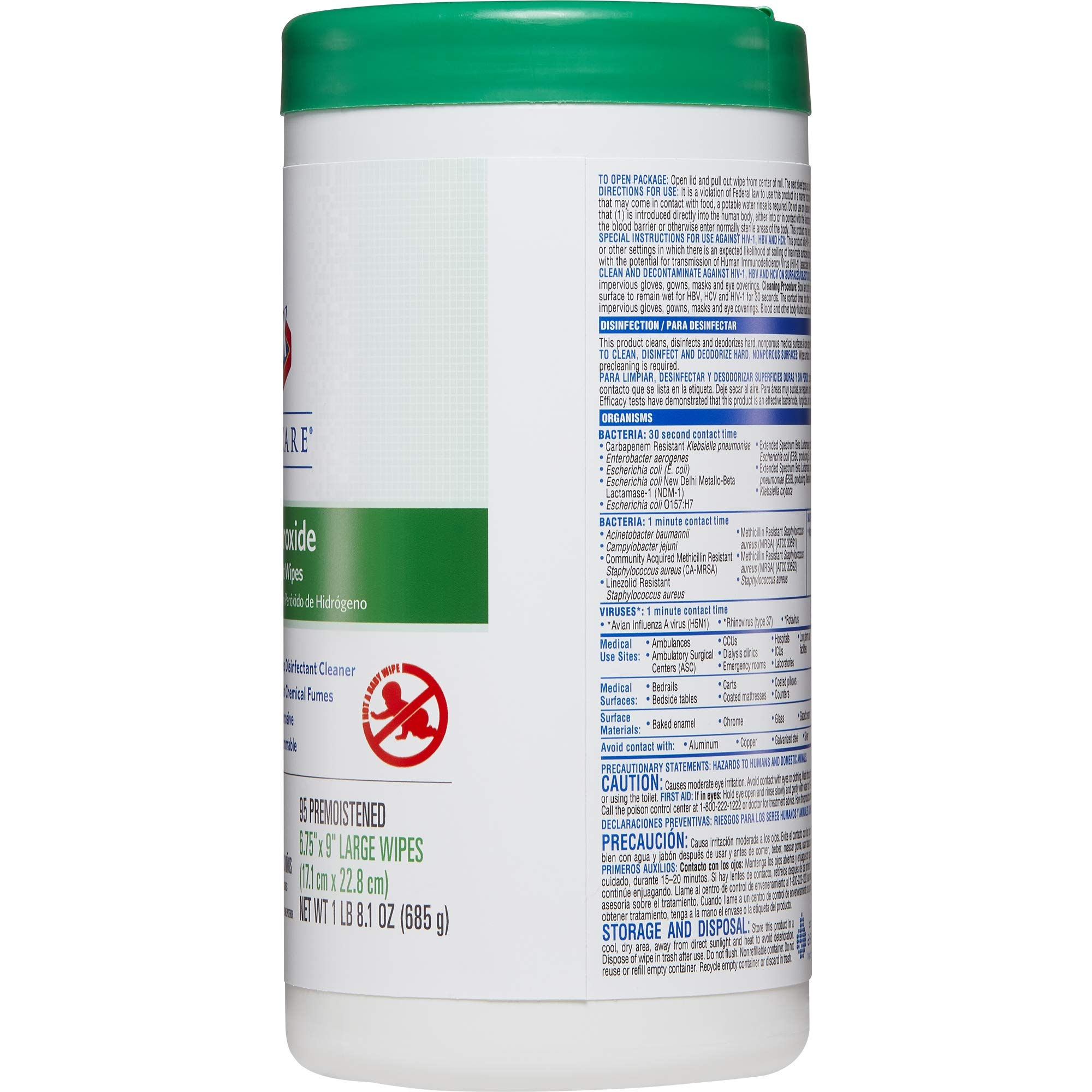 Clorox Healthcare Hydrogen Peroxide Cleaner Disinfectant Wipes, 95 Count Canister, 6 Canisters/Case (30824)