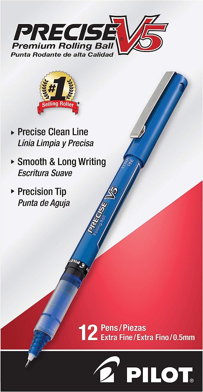 PILOT Precise V5 Stick Liquid Ink Rolling Ball Stick Pens, Extra Fine Point (0.5mm) Blue Ink, 12-Pack (35335)