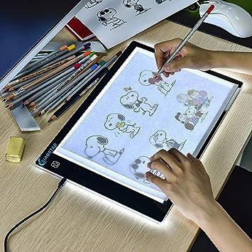 Tablero de fotocopiadora LED A4 superdelgado caja de luz de dibujo tabla de calcar cable USB con brillo ajustable para artistas, dibujos animados, bocetos, animación, visualización de rayos X A4.: Amazon.es: Hogar
