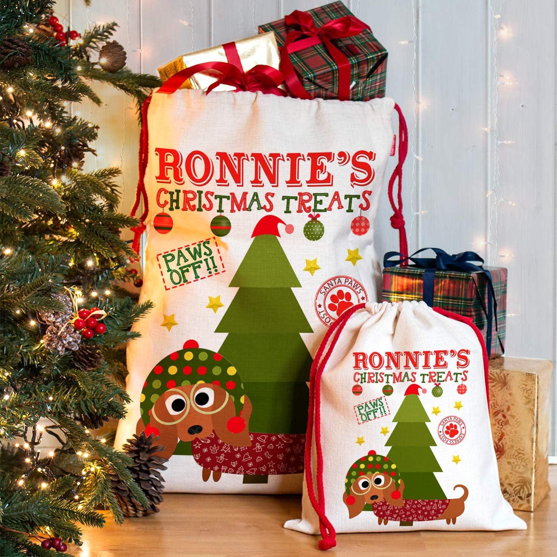 Black /& Tan CDS33, Small KRAFTYGIFTS Personalised Dachshund Christmas Treats Sack Pet Stocking Xmas Present Bag