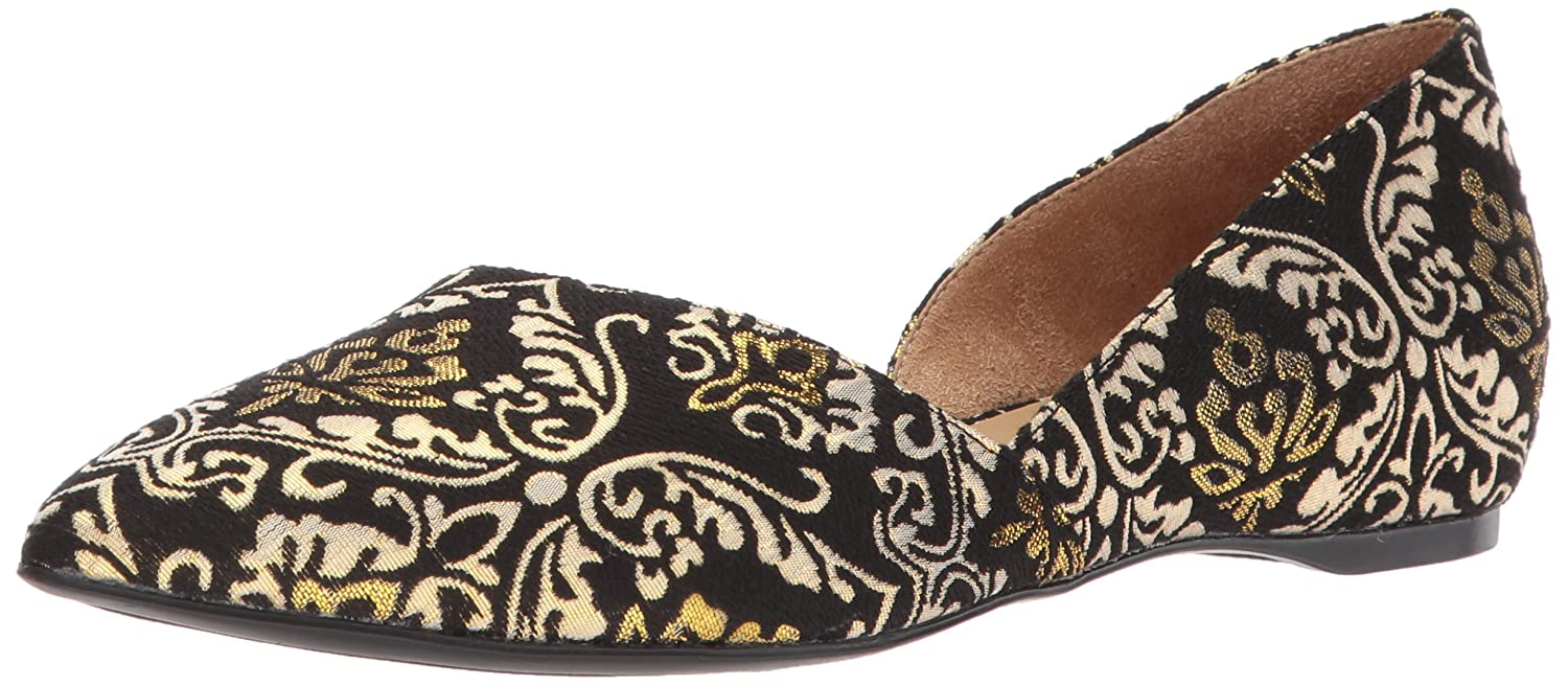 Naturalizer Women's Samantha Pointed Toe Flat B071V7L8W4 6 W US|Black/Gold