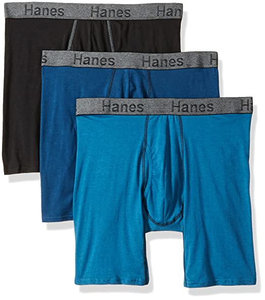 f37239b3b87 Hanes Men s 3-Pack Comfort Flex Fit Ultra Soft Long Leg Boxer Brief at  Amazon Men s Clothing store