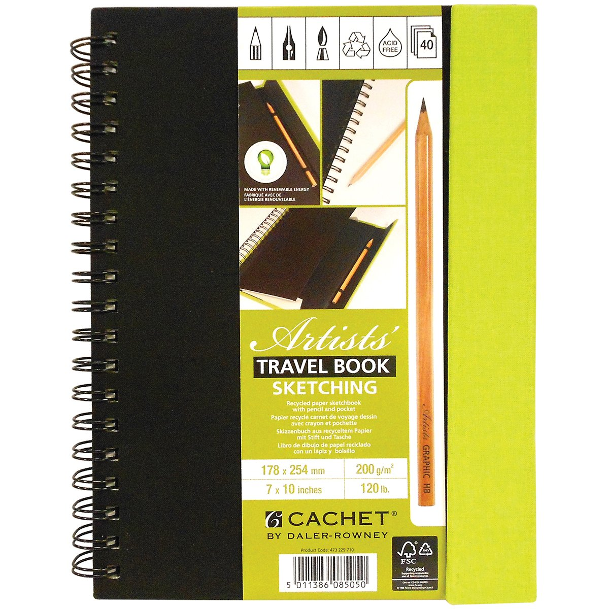 Cachet Travel Sketch Book with Pencil 7''X10'' 120 lb 40 Sheets