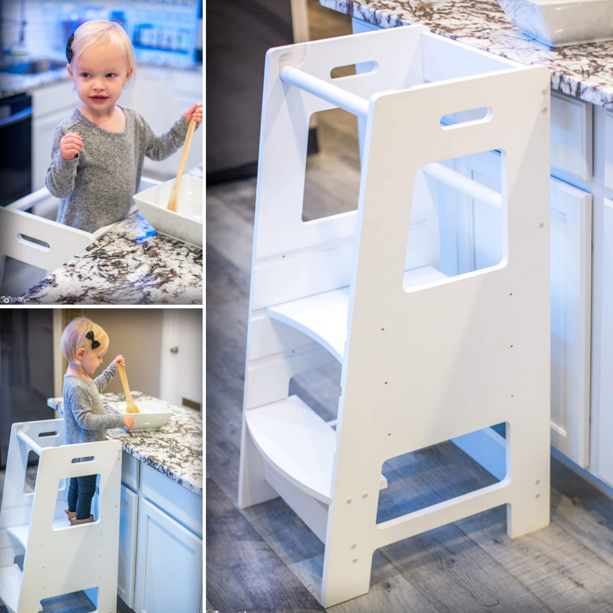 KidzWerks Child Standing Tower - White Child Kitchen Step Stool with Adjustable Standing Platform - Wooden Montessori Standing Tower - Kid's Step Stool