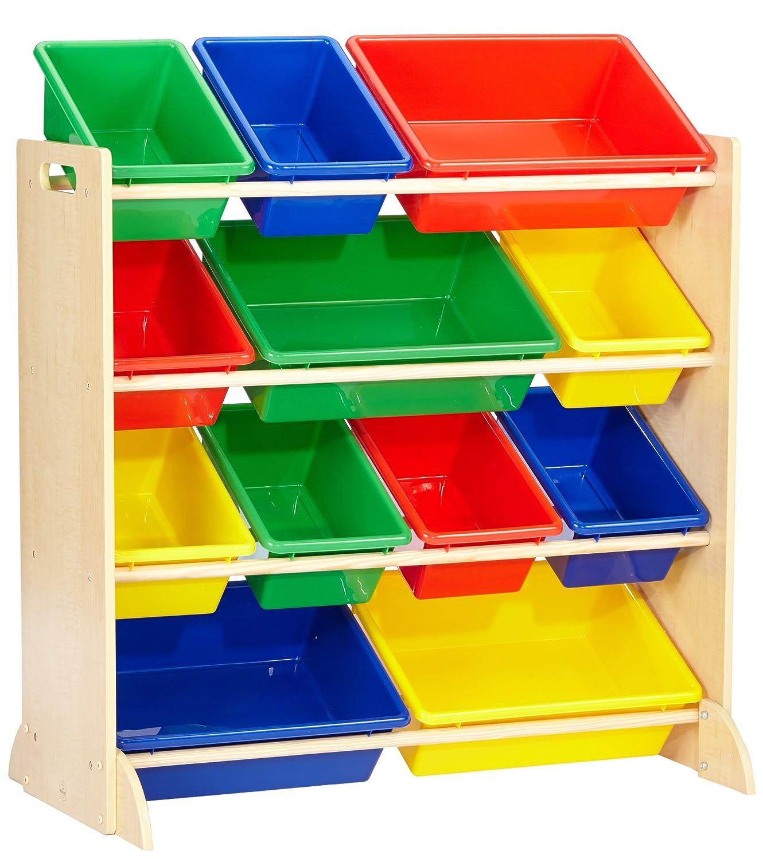 KidKraft 16774 Sort It & Store It Ordnungssystem Regal aus Holz mit 12 Kisten - Aufbewahrungsboxen für Kinder-Spielzeug in primär- & naturfarben - Kinderzimmer Möbel