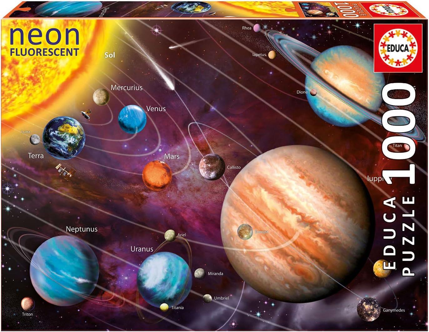 Educa- Serie Neon Fluorescent Puzzle 1.000 Piezas, Sistema Solar ...