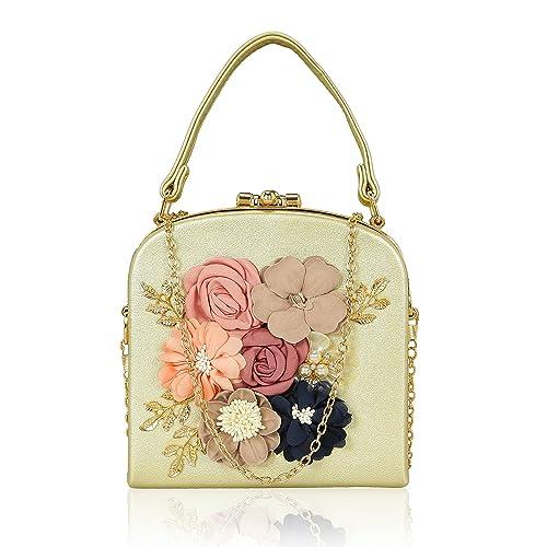 Kleio Women s PU Box Shaped Flower Embellished Clutch (Gold)  Amazon ...