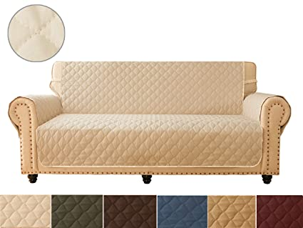 Surprising Ameritex Sofa Cover Reversible Quilted Furniture Protector Ideal Loveseat Slipcovers For Pets Children Water Resistant Double Line Checkered Theyellowbook Wood Chair Design Ideas Theyellowbookinfo