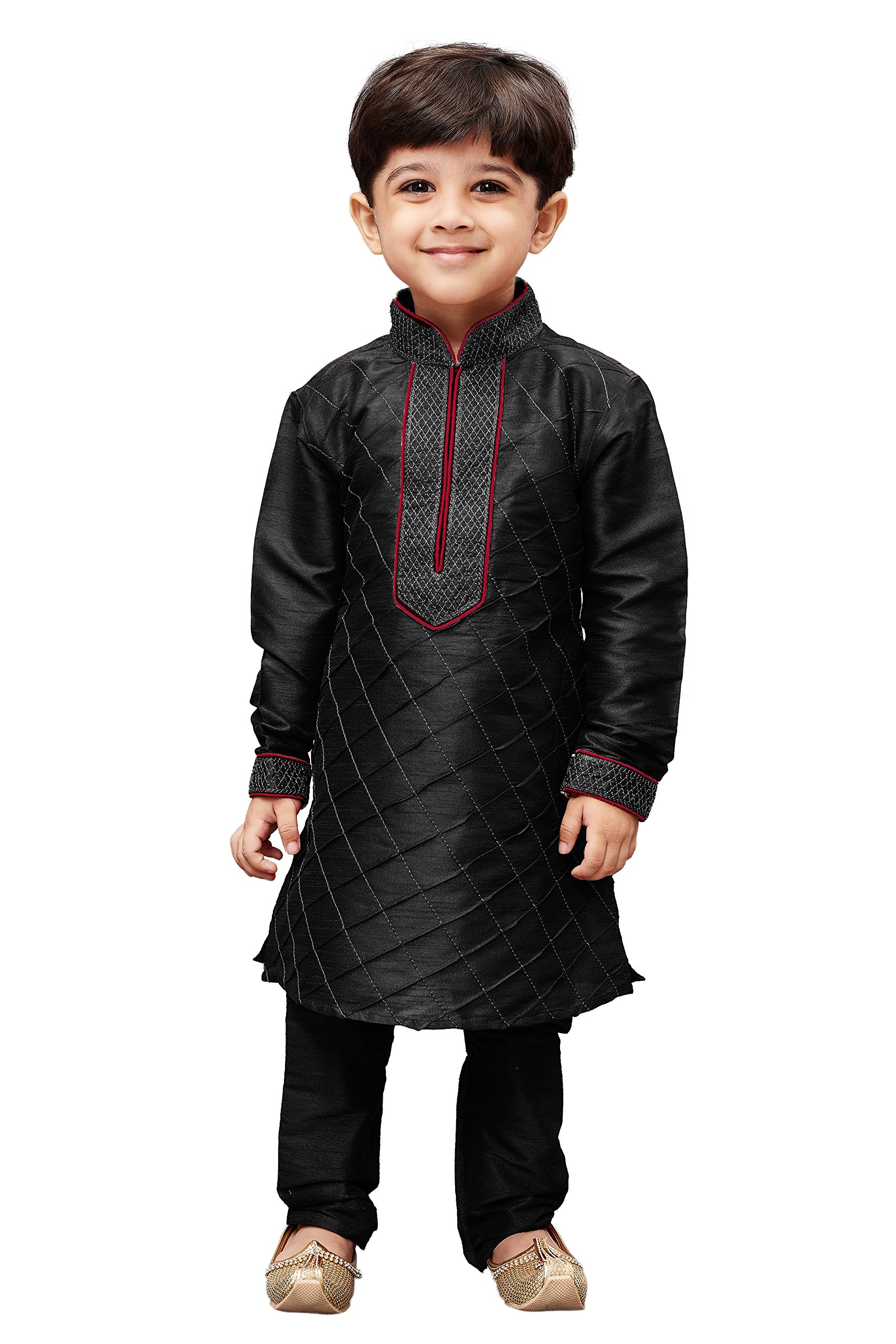 JBN Creation Boys' Black Cotton Silk Kurta Pyjama Set(VASBKBL004nPBL_34)