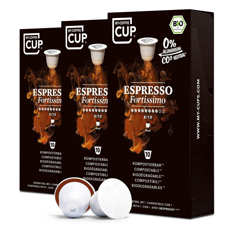 BIO Kaffeekapseln von My-CoffeeCup | Kompatibel mit Nespresso®*-Maschinen | 100% kompostierbare Kapseln ohne Alu (Fortissimo (Espresso No. 1), 30 Kapseln)
