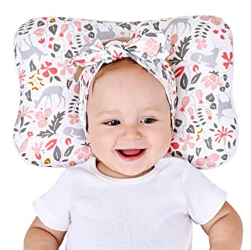 Newborn Baby Head Shaping Pillow - 3D Breathable Air Mesh Cotton, Neck Support for Infant Preventing Flat Head Syndrome, Machine Washable & Dry-able ...