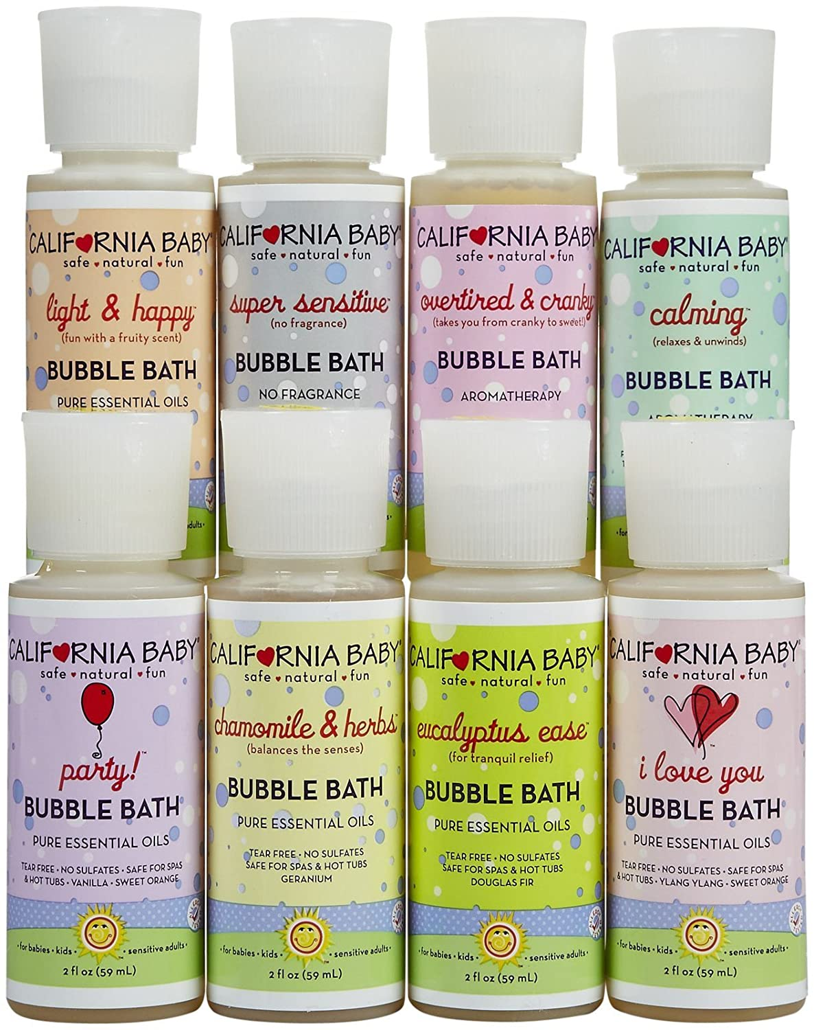 California Baby Bubble Bath Tote Sampler Pack | 8 Pc Set with Eucalyptus, Calming, Super Sensitive, Chamomile and More, Pure Essential Oils and Aromatherapy for Kids