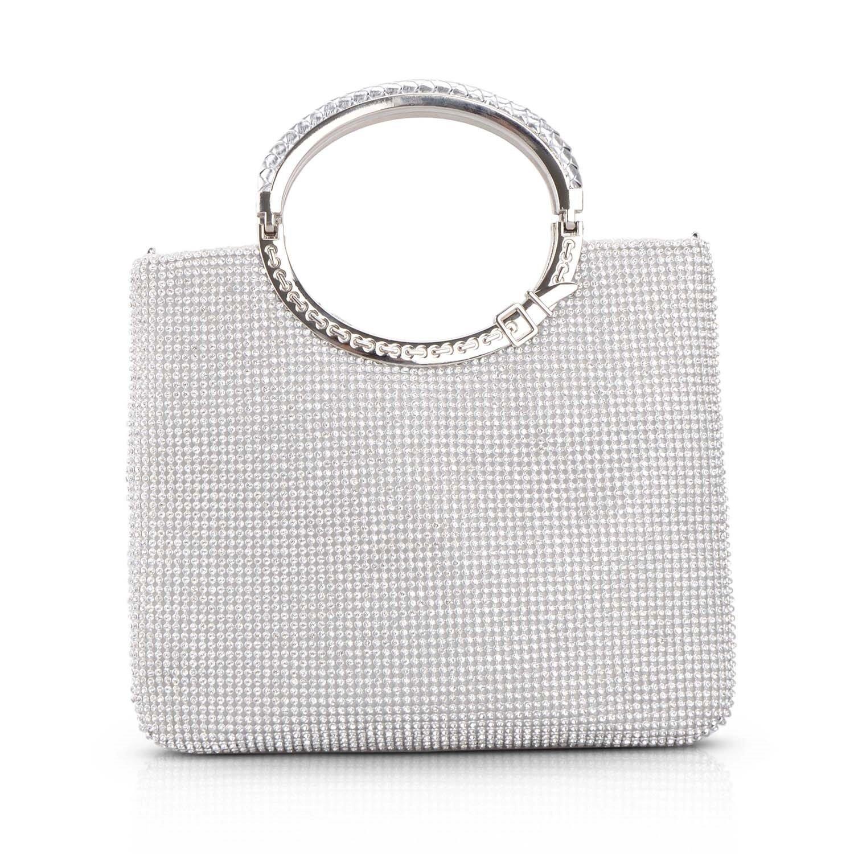 Kisschic Women's Handbag Rhinestone Evening Bags Wedding Clutches Purses (Silver)