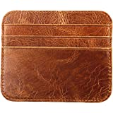 Genuine Leather Credit Card Holder Wallet - 6 Card Slots and 1 Pockets, Slim Design by mSure(Brown)