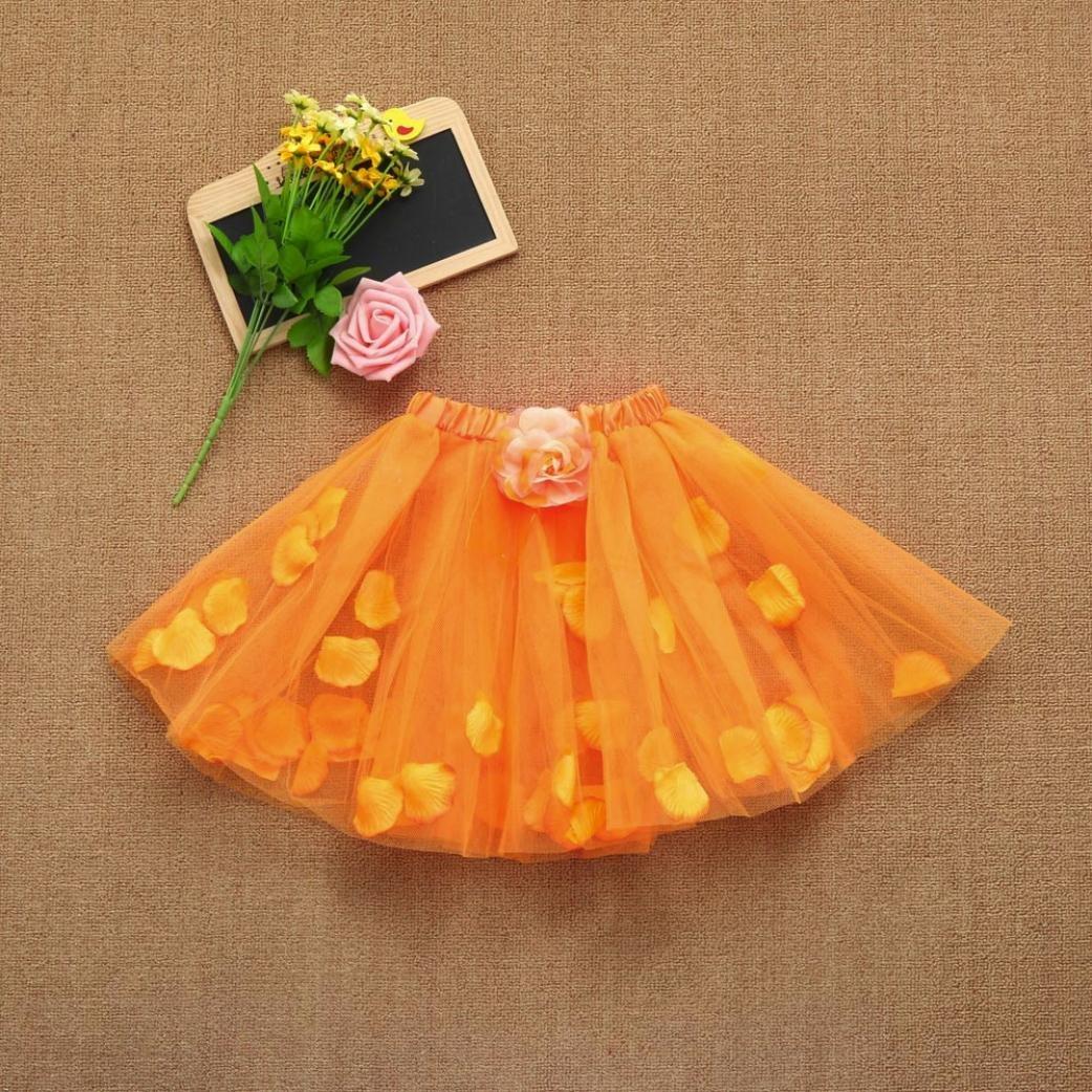Kids Baby Girl Floral Skirt Dot Tutu Ballet Skirt Fancy Party Skirt Voberry Girl Skirt
