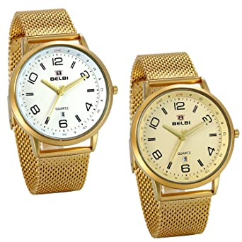 47fefb5d2 JewelryWe 2pcs Reloj Dorado para Hombre, Esfera Grande Números Arábigos,  Color Oro Correa de Acero Inoxidable Reloj de Caballero Con Calendario:  Amazon.es: ...
