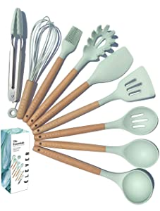 ÉLEVER - Kitchen Utensil Set - 9 Cooking Utensils. Kitchen Gadgets for Nonstick Cookware Set. Kitchen Accessories, Silicone Spatula set, Serving Utensils. Best Silicone Kitchen Utensils Tools Gifts