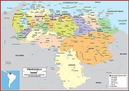 Amazon.com : Academia Maps - Wall Map of Venezuela - Fully ...