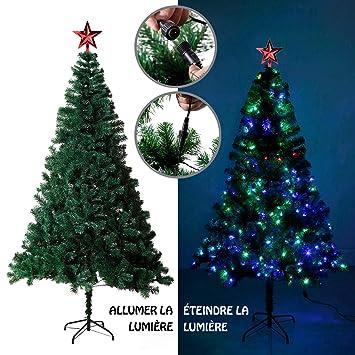 2611b6ee4fa0f EFORINK Sapin de Noël Artificiel Lumineux 180 LED Multicolore + 7 Jeux de  lumière - livré