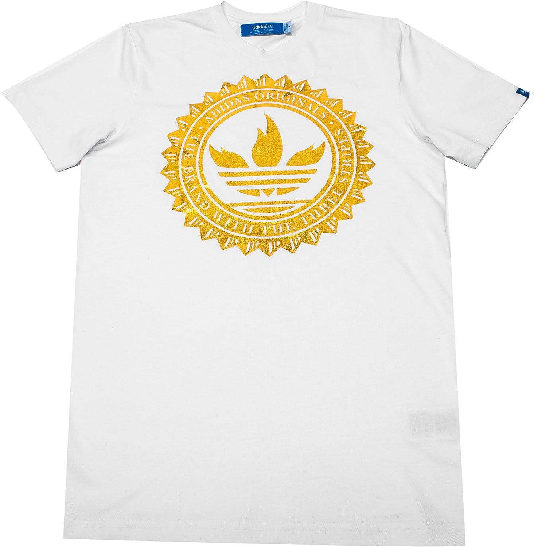 transacción Canal Amigo  adidas Originals Mens Trefoil Flames Gold 100% Cotton T-Shirt Top Tee  (Medium): Amazon.co.uk: Clothing