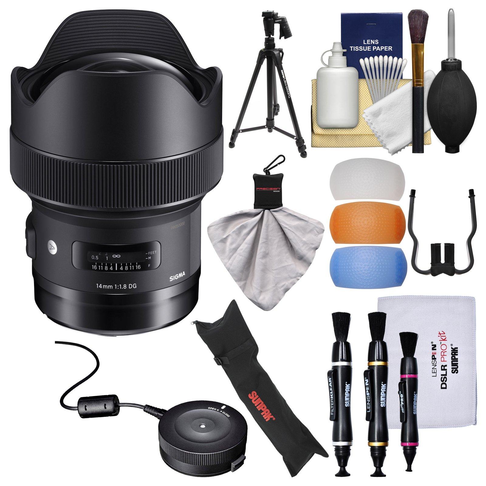 Sigma 14mm f/1.8 ART DG HSM Lens with USB Dock + Pistol Grip Tripod & Case + Kit for Nikon Digital SLR Cameras