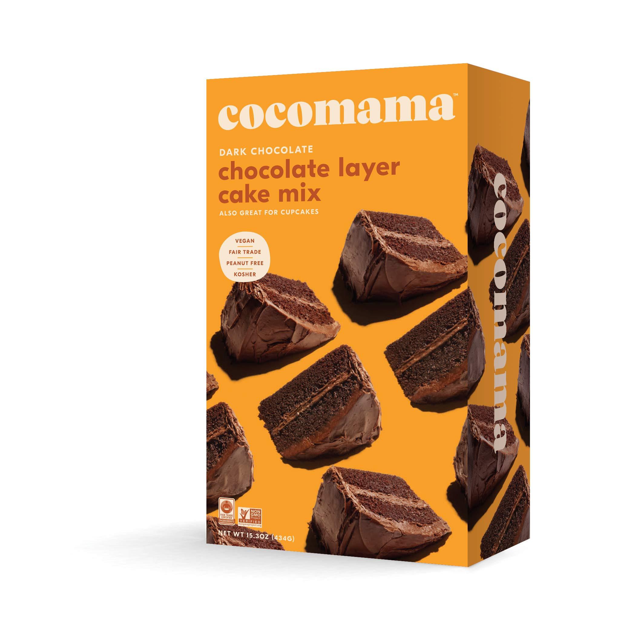 Cocomama Dark Chocolate Layer Cake Mix - Vegan Chocolate Baking Mix, Organic Fair Trade Cocoa Powder & Cane Sugar, Madagascar Vanilla Bean, Non GMO, Kosher, 15.3 oz