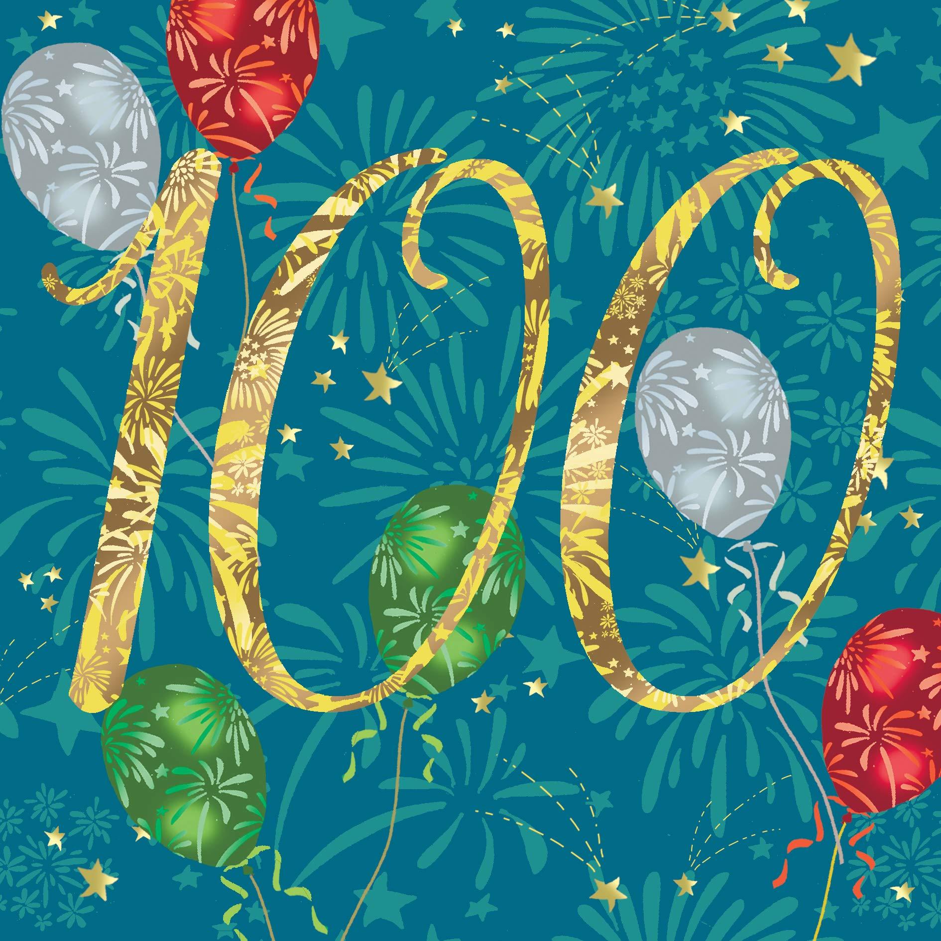Twizler Unisex Age 100 Birthday Card – 100th Birthday Card for Her – 100th Birthday Card for Him – 100 Years Old – Male…