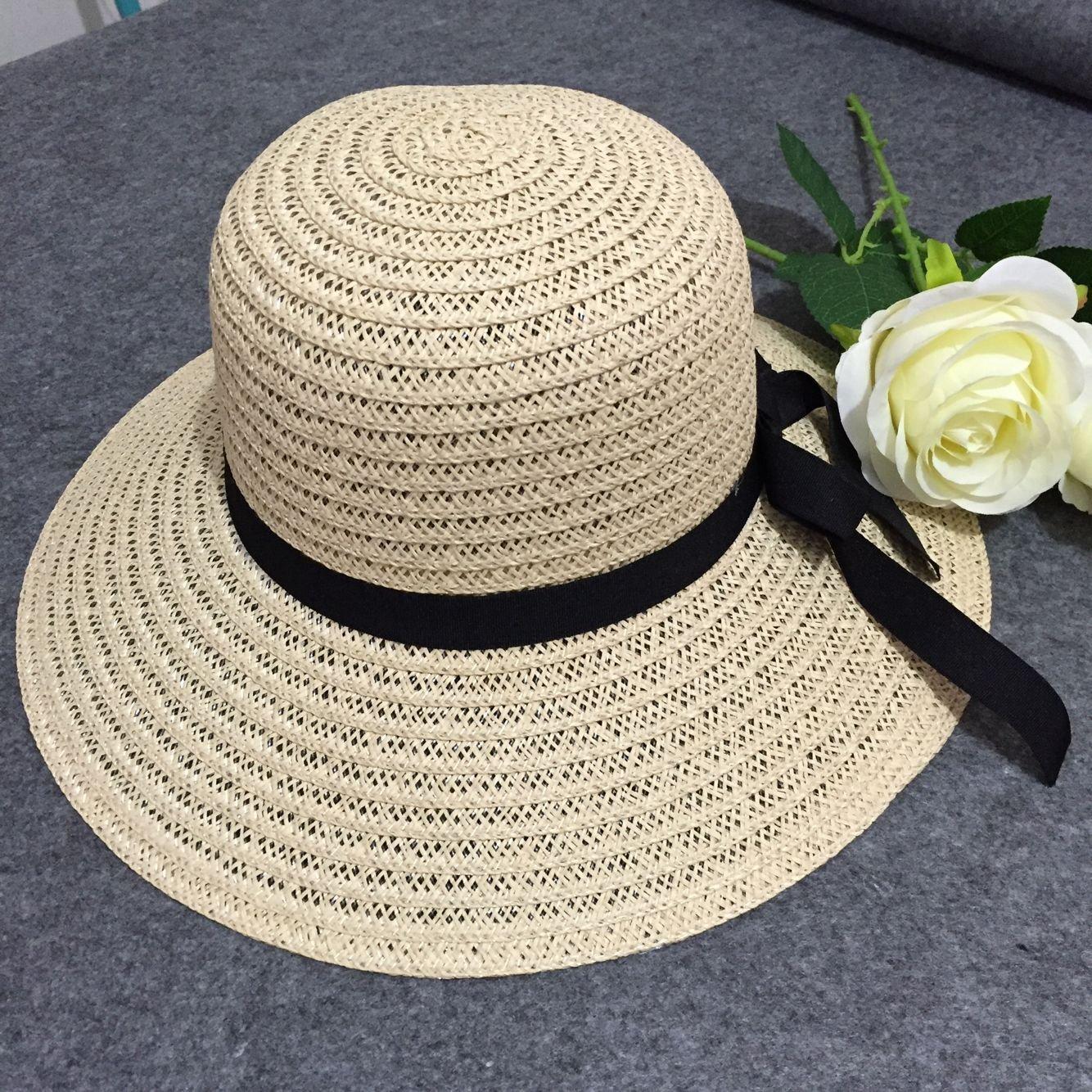 ZHANGYONG*Tapa de marea de verano los niños sombrero de paja pajarita tapa de verano en la playa sombreros sunscreen Sra. a lo largo de la mayor visor , son de código (54-58cm) , beige