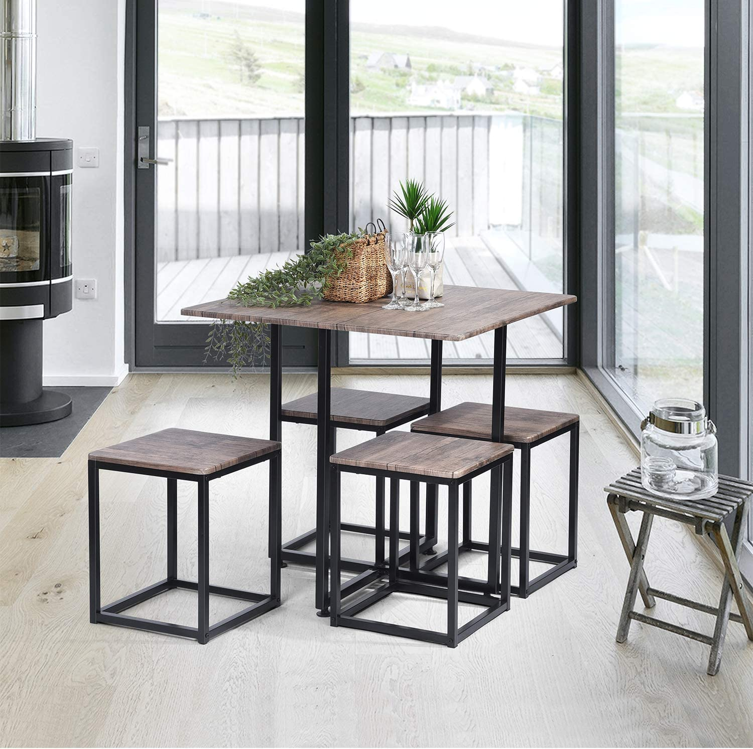 FurnitureR 5 Piece Wooden Metal Dining Table Sets Rectangle Table and 4 Round Chairs for Home Kitchen Modern Furniture,Beech and White Wood