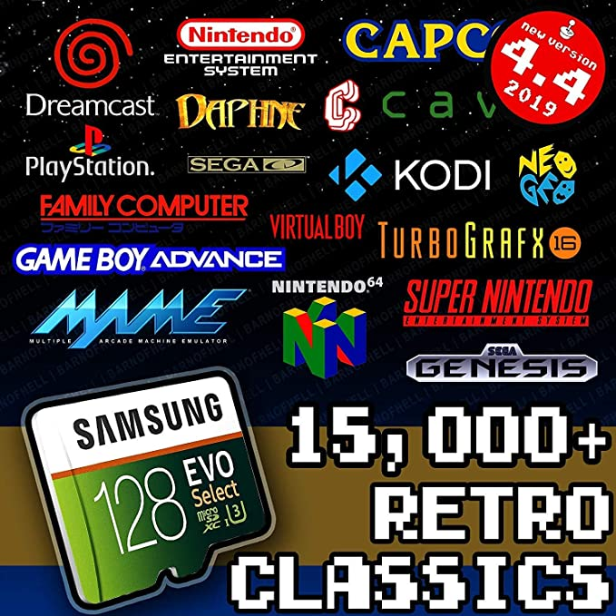 RetroPie 128GB SD Card for Raspberry Pi - Games Collection with Video Previews & 3D Boxart