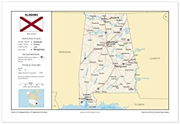 Amazon.com : 13x19 Alabama General Reference Wall Map ...