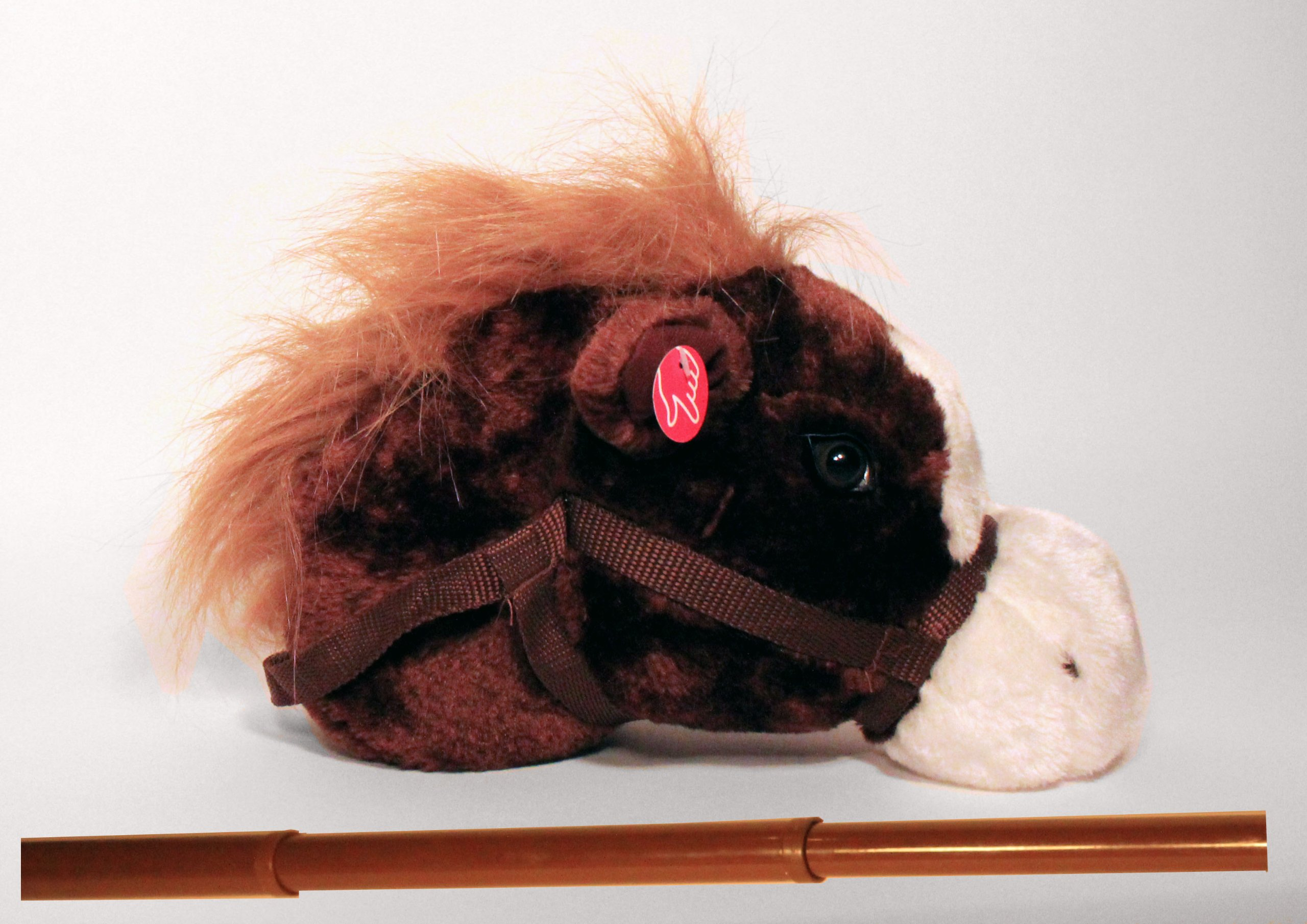 Adjustable Brown Stick Horse - Adjustable to Three Heights: 21'', 28'' and 36'' Twist & Lock System & Horse Makes Sound!