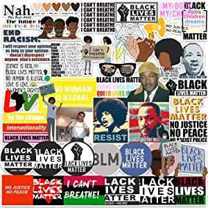 Black Lives Matter Stickers, Black Rights Defender [50pcs] Anti-Racism BLM Movement Sticker, Women Right Decal for Tool Box Hard Hat Helmet Bumper Car Truck Laptop Pad Hydro Flask Water Bottles