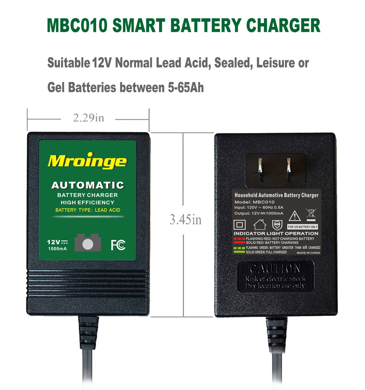 Mroinge automotive trickle battery charger maintainer 12V 1A for car motorcycle Lawn Mower SLA ATV WET AGM GEL CELL Lead Acid Batteries, Smart battery charger is tender charge for protect your battery by Mroinge (Image #2)