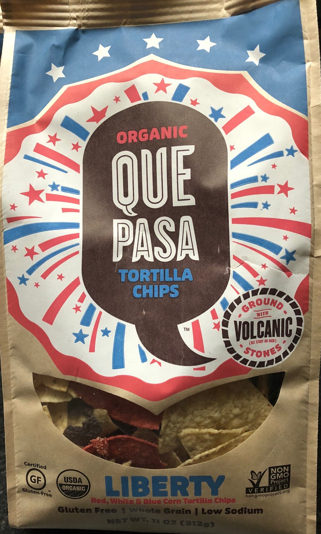 Que Pasa Tortilla Chips,''Liberty'' Edition, Red, White, and Blue Chips, 11 oz bag