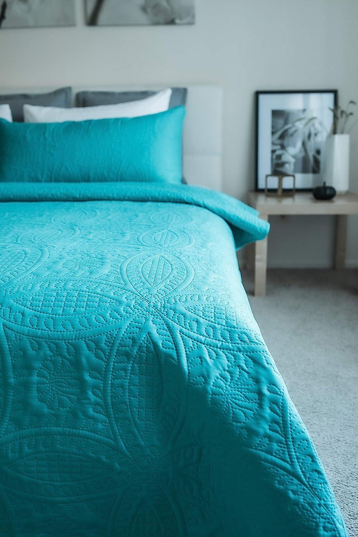 Mezzati Bedspread Coverlet Set Stunning Blue Comforter Bedding Cover King//Cal King, Stunning Blue Prestige Collection Brushed Microfiber Bedding 3-Piece Quilt Set