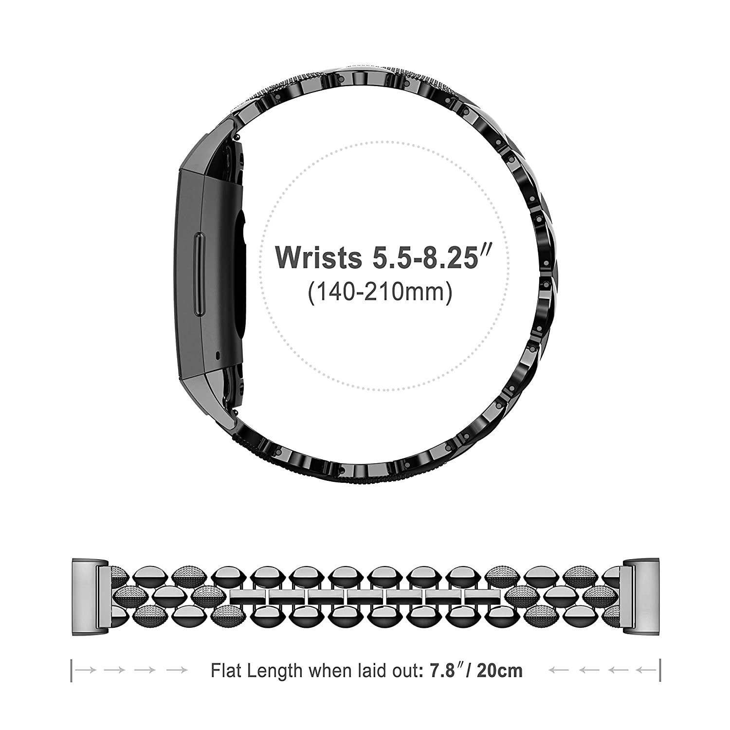 Wearlizer Compatible with Fitbit Charge 3 Bands for Women Metal Replacement Fit Bit Charge 3 hr Band Accessories Strap Bracelet Bangle Silver Rose Gold Black