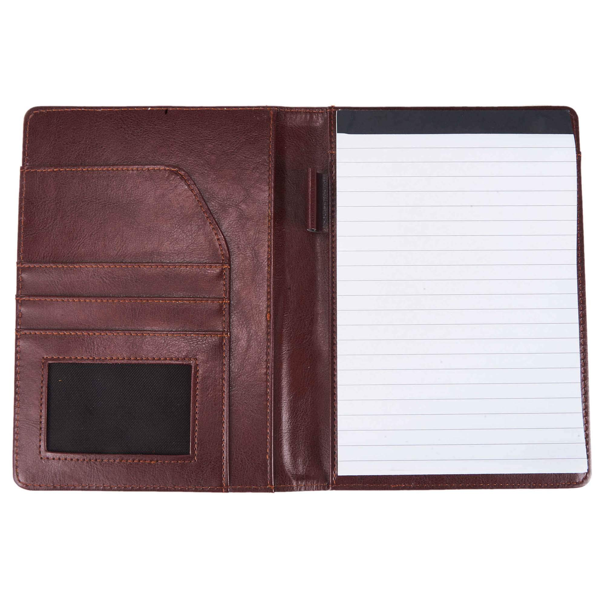 Professional PU Leather Notebook Personal Organizer Folder A5 Size Memo Junior Padfolio Business Portfolio with Writing Pad Pen Holder For School Office (Brown)